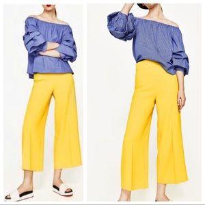 Zara High Waisted Yellow Culottes
